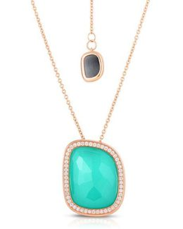 Jade, Agate, Diamond And 18k Rose Gold Layered Necklace