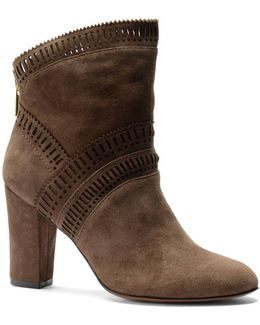 Evoda Lasercut Suede Ankle Boots