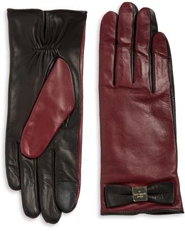 Colorblock Leather Tech-friendly Gloves