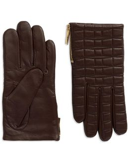 Quilted Leather Driving Gloves