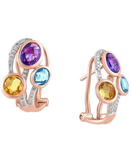 Mosaic Multi-colored Stone And Diamond Earrings