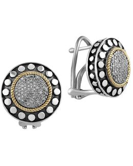 925 Sterling Silver, 18k Yellow Gold And Diamond Earrings