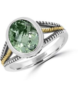 925 Sterling Silver, 18k Yellow Gold And Green Amethyst Ring
