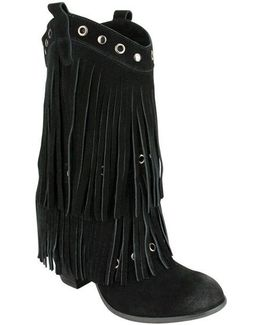 Kickin In Frindged Suede Mid-calf Boots