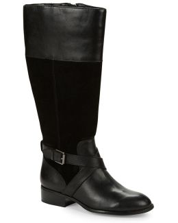 Maryann - Wide Calf Suede Riding Boots