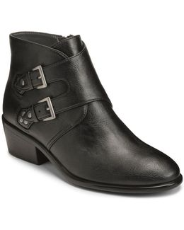Urban Myth Buckled Faux Leather Ankle Boots