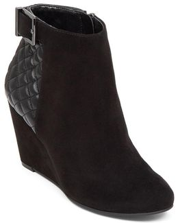 Wright Leather Wedge Booties