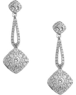 Bouquet Diamond And 14k White Gold Earrings, 1 Tcw