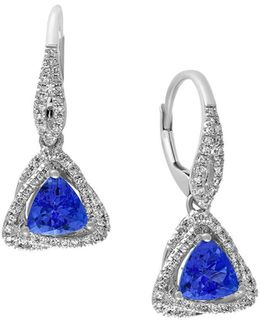 Tanzanite Royale Diamond And 14k White Gold Triangle Drop Earrings