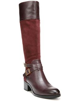 Lapis Wide-Calf Leather Knee-High Boots