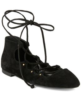 Kamilla Suede Lace-up Ballet Flats