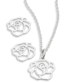 Sterling Silver Rose Earring And Necklace Set