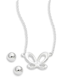 Sterling Silver Butterfly Earring And Necklace Set