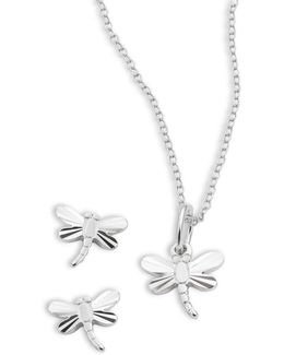 Sterling Silver Dragon Flies Earring And Necklace Set