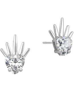 Cubic Zirconia And Sterling Silver Spike Stud Earrings