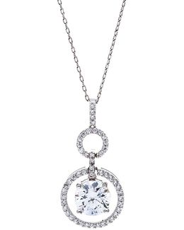 Sterling Silver And Cubic Zirconia Circle Pendant Necklace