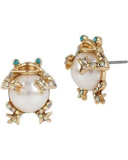 Faux Pearl Frog Stud Earrings