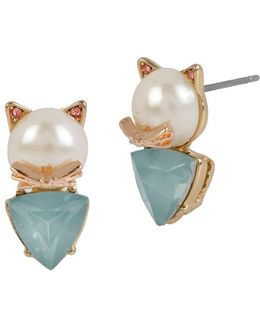 Faux Pearl Cat Stud Earrings