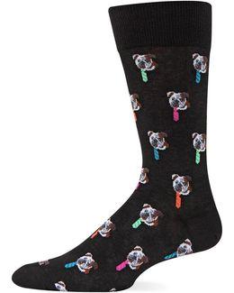 Bulldog Tie Crew Socks