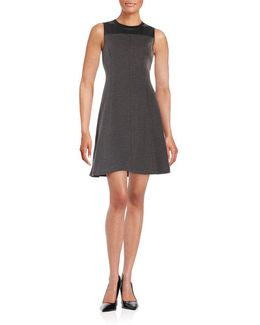 Faux Leather-paneled Mixed Media Fit-and-flare Dress