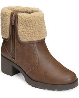 Boldness Faux Shearling Leather Boots