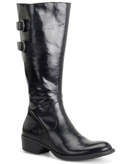 Berry Leather Riding Boots