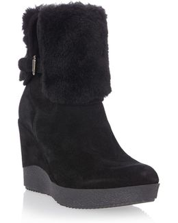 Pluff Suede And Faux Fur Ankle Boots