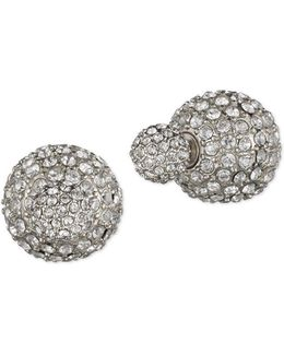 Pave Front Back Stud Earrings