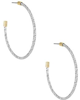 Two-tone Textured Hoop Earrings-2