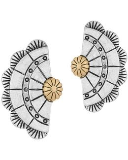 Two-tone Concho Fan Stud Earrings