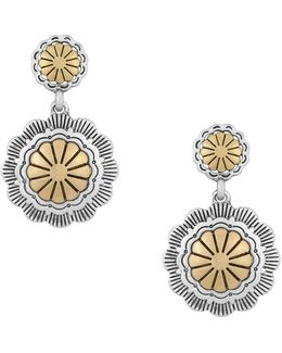 Double Concho Two-tone Drop Earrings
