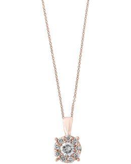 Pave Rose Diamond And 14k Rose Gold Pendant Necklace