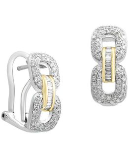 Duo Diamond 14k White Gold And 14k Yellow Gold Earrings