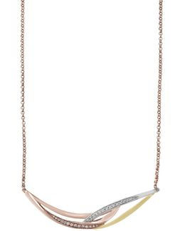 Trio Diamond, 14k Yellow Gold And 14k Rose Gold Necklace