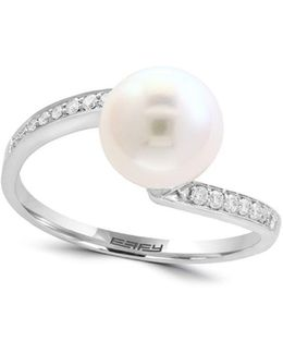 8mm White Pearl, Diamond And 14k White Gold Ring