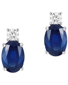 Royale Bleu Diamond, Natural Sapphire And 14k White Gold Earrings