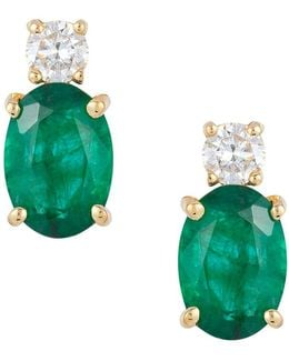 Brasilica Natural Emerald, Diamond And 14k Yellow Gold Earrings