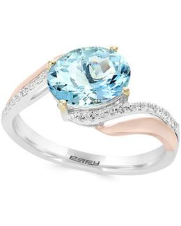 Diamond And Aquamarine 14k Rose And White Gold Ring