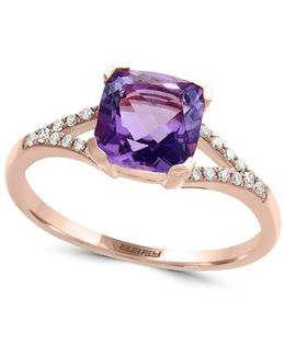 Viola Amethyst, Diamond And 14k Rose Gold Ring