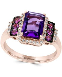 Viola Amethyst, Rhodolite, Diamond And 14k Gold Ring