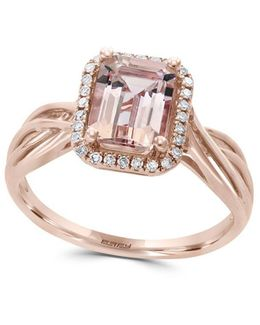 Morganite, Diamond And 14k Rose Gold Ring