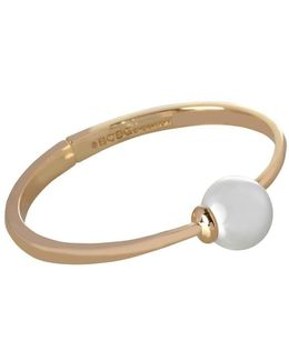 Pearl Group Faux Pearl & 12k Yellow Goldplated Bracelet