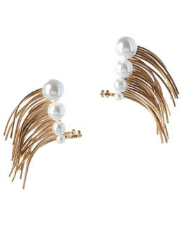 Pearl Group Faux Pearl & 12k Yellow Goldplated Climber Cuff Earrings