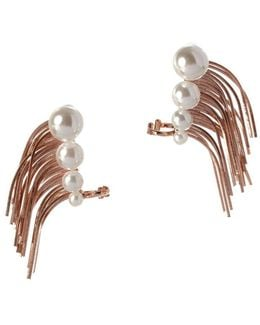 Pearl Group Faux Pearl Climber Cuff Earrings
