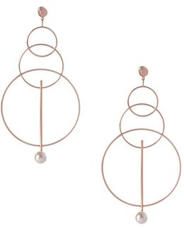 Pearl Group Faux Pearl Triple Circle Drop Earrings