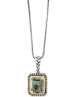 925 Green Amethyst Sterling Silver And 18k Yellow Gold Necklace