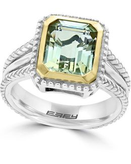 925 Green Amethyst, 18k Yellow Gold And Sterling Silver Ring