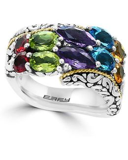 925 Amethyst, Blue Topaz, Peridot, Sterling Silver And 18k Yellow Gold Scroll Ring