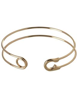 Pearl Group 12k Yellow Goldplated Safety Pin Cuff Bracelet