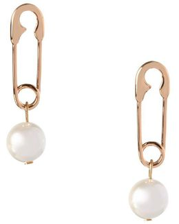 Pearl Group Faux Pearl & 12k Yellow Goldplated Safety Pin Earrings